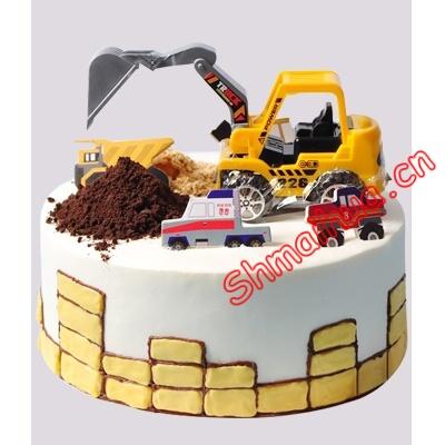 挖土机工程车蛋糕